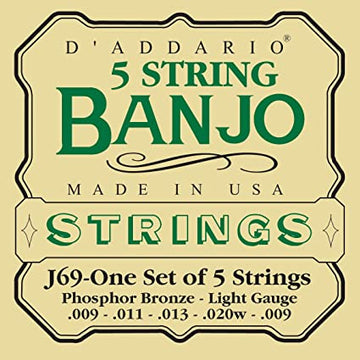 Banjo String Set - D'addario Blue Grass 5 string banjo set - J-69