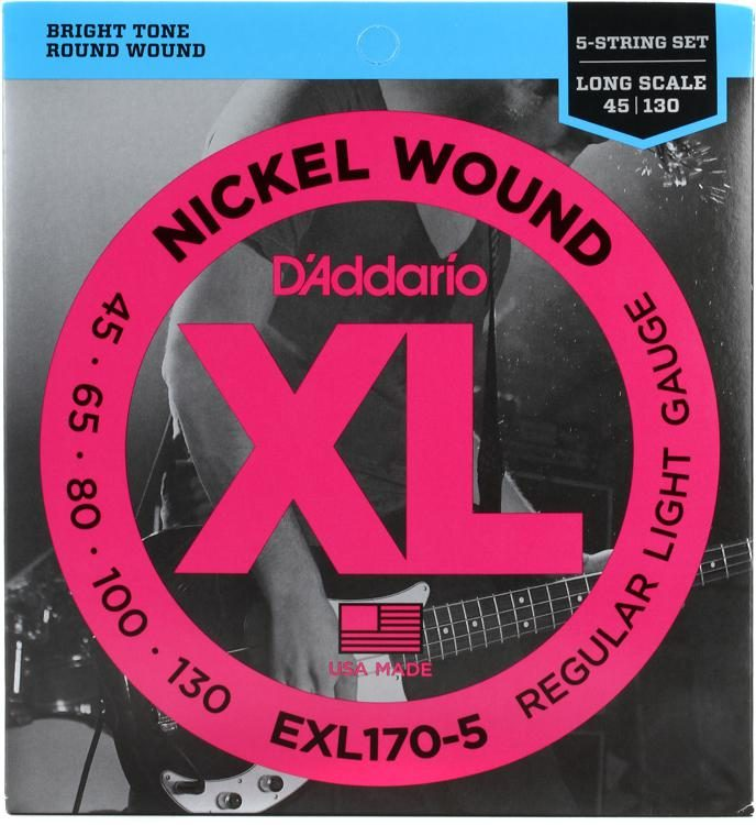 Electric Bass Strings - D'Addario 5 String Set - EXL-170-5