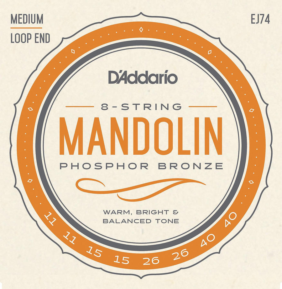 Mandolin String Set - D'addario Phosphor Bronze wound Mandolin string set - J74