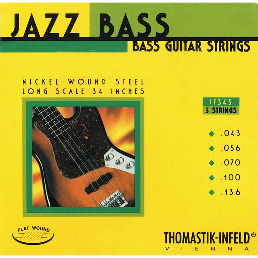 Thomastik Jazz Flat Wound 5 String Bass set, .043 - .136. - T-JF345
