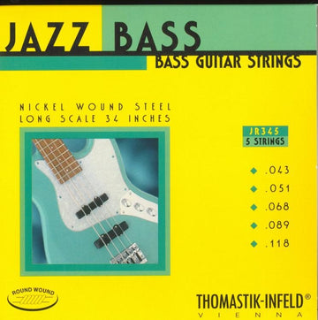 Thomastik Jazz Electric Bass String Set Round Wound for 5 string .043 - .118. - T-JR345