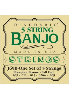 Banjo String Set - D'addario 5 string bronze banjo set - J-69B