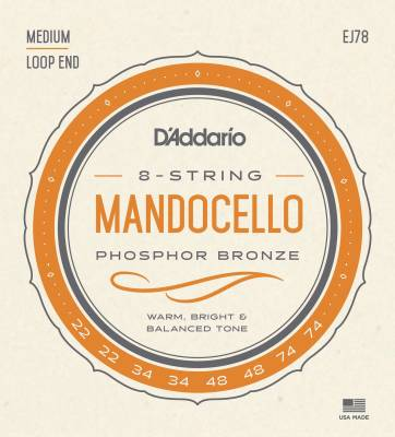 Mandocello/Mandolin String Set - (D'addario Phosphor Bronze Wound Mando Cello String set - J78