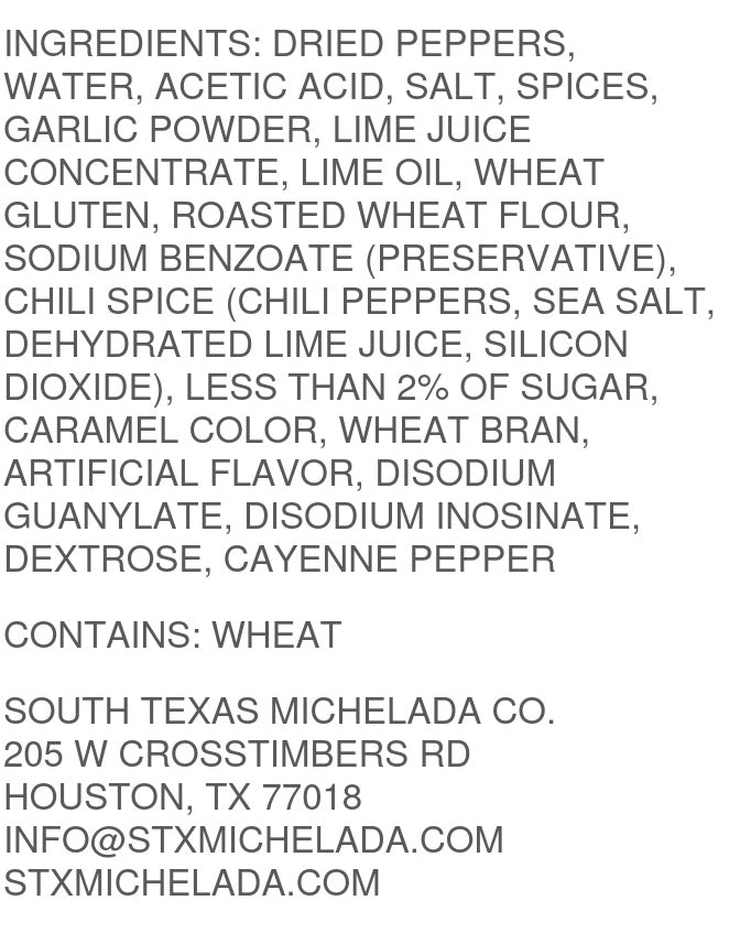 South Texas Michelada Co. Extra Spicy Mix Ingredients