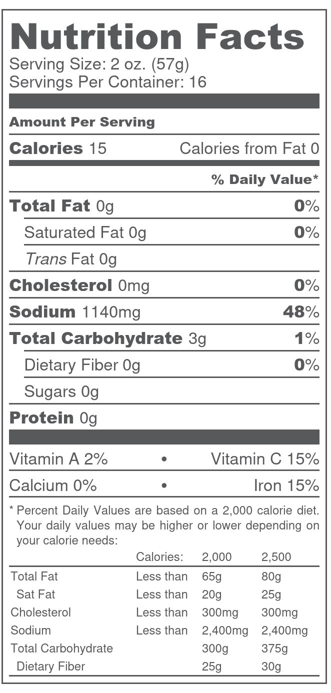 South Texas Michelada Co. Extra Spicy Mix Nutrition Information