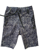 Load image into Gallery viewer, Stretch denim shorts, lightweight, elastic & adjustable waistband, denim style but very comfy, no snaps or closures. Cool for a very casual look paired with a t-shirt and a pair of snickers, but also great for an evening appearance with a black jacket.  Dyed in a batik style but in a much rocker version. Unisex.
