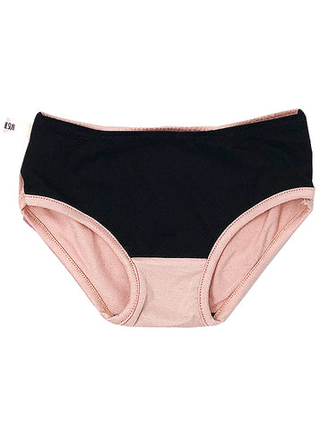 Underwear for girls, black cotton + light salmon modal. It matches beautifully with the Sunset Dress.