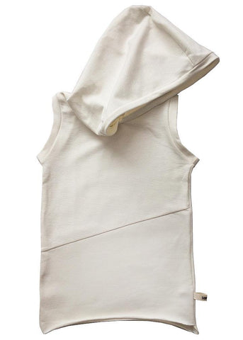 100% cotton white-off sleeveless hoodie, irregular with wide fit and a big hood to avoid de sun and annoying looks on a bad day. Unisex. Perfect to play outdoors, light, comfortable and very cool.
