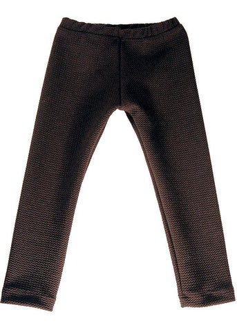 Black stretch pants with a very cool texture. Legging style,  goes well with different looks, and are unisex. Try them with a cotton t-shirt and a cool coat for both boys and girls, or under a dress or a tutu for a big party. Unisex.