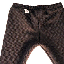 Load image into Gallery viewer, Black stretch pants with a very cool texture. Legging style,  goes well with different looks, and are unisex. Try them with a cotton t-shirt and a cool coat for both boys and girls, or under a dress or a tutu for a big party. Unisex.