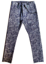 Carregar imagem no visualizador da galeria, Stretch slim pants, lightweight, elastic waistband, denim style but comfortable as a pair of leggings, no snaps or closures. So cool, super slim.  Dyed in a batik style but in a much rocker version. Unisex.