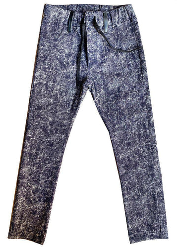 Stretch slim pants, lightweight, elastic waistband, denim style but comfortable as a pair of leggings, no snaps or closures. So cool, super slim.  Dyed in a batik style but in a much rocker version. Unisex.