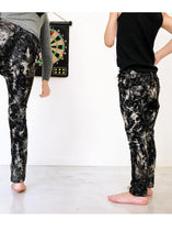 Load image into Gallery viewer, Stretch slim pants, lightweight, elastic waistband, denim style but comfortable as a pair of leggings, no snaps or closures. So cool due to its' cut, super slim.  Dyed with the batik technique but in a much rocker version. Unisex.