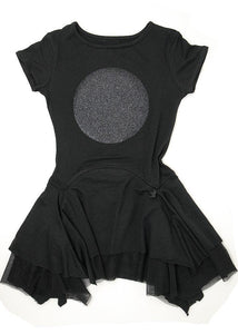 Black super soft dress with a large lunar eclipse in glitter on the chest, beautifully layered skirt. Short sleeves, round neck, it's a must. Inspired by post punk shapes, achieving our goal of designing tutu style dresses that are almost lounge pieces, so soft and comfy.