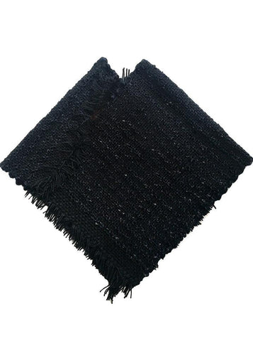 100% handmade black poncho for kids, super soft, light and cool.  SO easy to wear, perfect for them who no longer want help: they are happy with the autonomy that it gives them when dressing and undressing. Unisex. Each piece is unique; being a handmade product it's shapes can vary minimally.