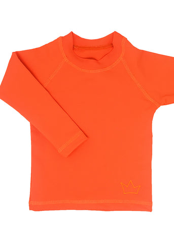 Unisex long-sleeve swim top, neon orange... a beach top to be seen in, great for sun protection. So easy to move, play and swim in.  Crown embroidery in neon orange.