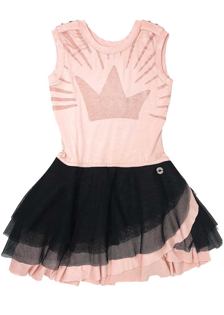 Gorgeous salmon + black tutu dress, round neck, and a lots of tulle, this dress is all about twirling. Silver color studs on the shoulders. The skirt is completely lined in modal between the skin and the tulle, thus avoiding discomfort. Handmade glitter print on the front.