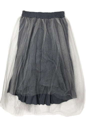 Gray long tutu over a cotton skirt, very stylish and cool. Elastic waistband and a little longer at the back. A must.
