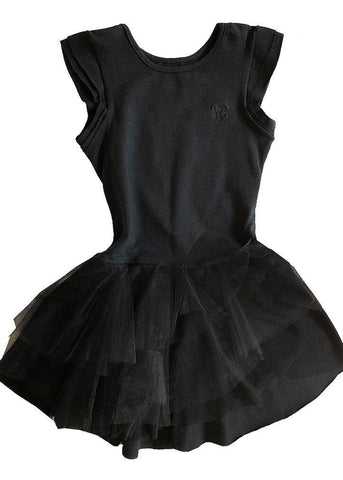 Black tutu dress in stretch cotton. It's a beautiful tutu dress with lots of tulle, couture, crown embroidery on the front, round neck and very stretch. The skirt is made of cotton between the skin and the tulle of the tutu, avoiding discomfort. 1 to 2 years of age.