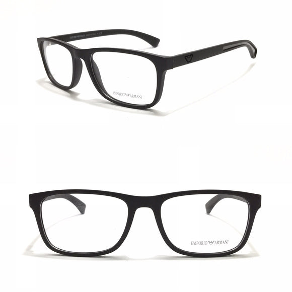 ارمانى - Black in Grey Rectangle Eyeglasses