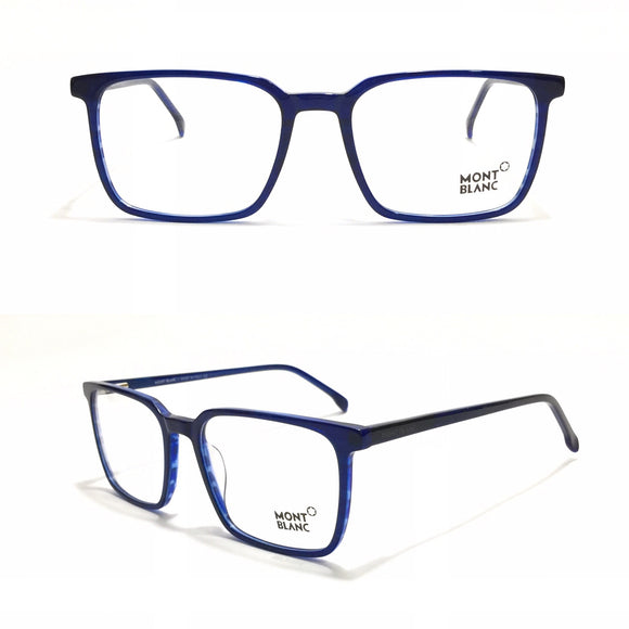 مونت بلانك Blue Rectangle  Eyeglasses for Unisex