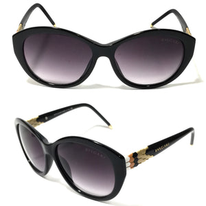 بلغاري - Oval Women Black Sunglasses
