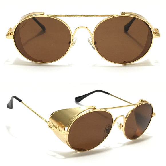 ريبان -Round with metal sides brown sunglasses