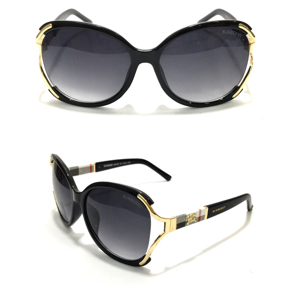بيربيري - Oval Black Sunglasses  B6027