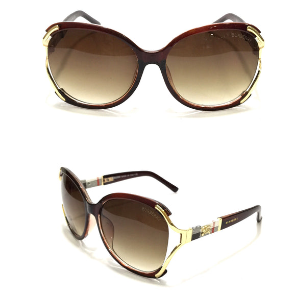 بيربيري- Oval Brown Sunglasses B6027