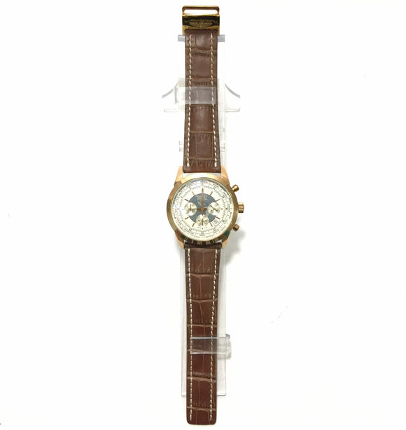 Men Brown Leather Band Watch
