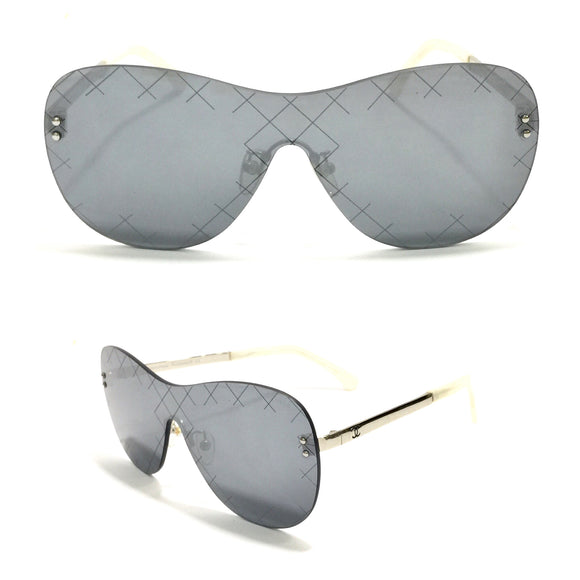 شانيل -Silver Frameless Women Sunglasses - ch5529