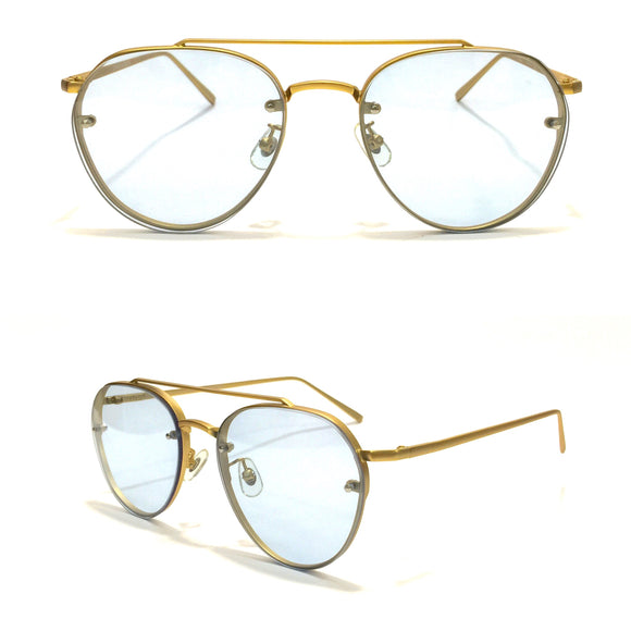 Turquoise Lens with Golden Frame and Golden metal Sides Sunglasses For Women