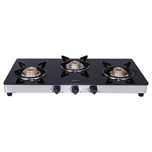 Elica Vetro Glass Top 3 Burner Gas Stove with Double Drip Tray