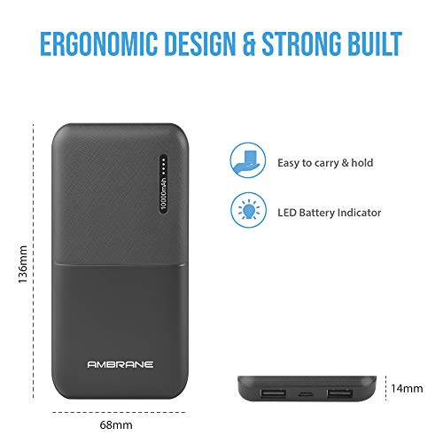 Ambrane 10000mAh Lithium Polymer Power Bank (Capsule-10K, Black)