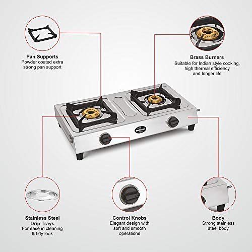 Sunflame Shakti Stainless Steel 2 Burner Gas Stove