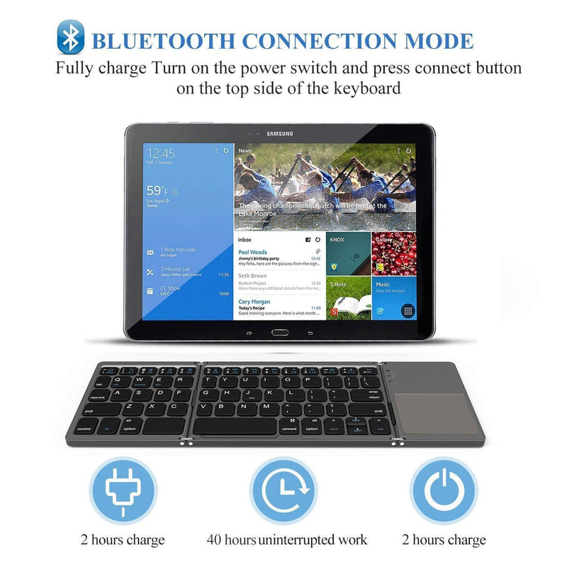 Saco Foldable Bluetooth Keyboard with Touchpad