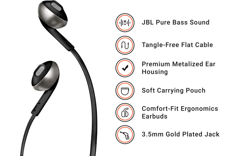 JBL T205 Pure Bass Metal Earbud Headphones with Mic