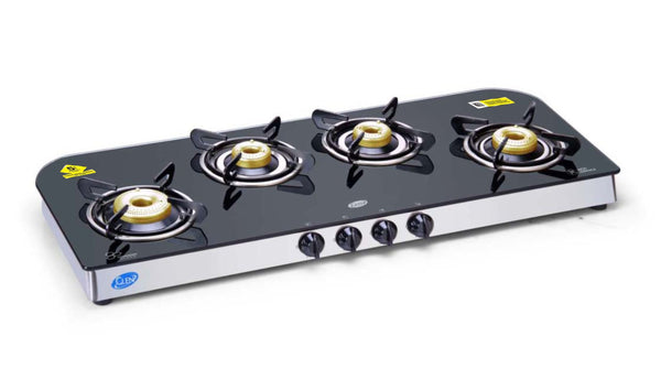 Glen 4 Burner Glass Cooktop 1049 GT Forged Brass Burner