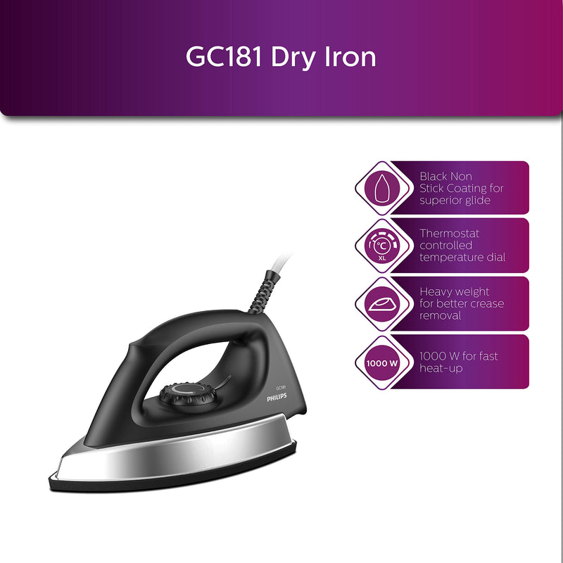 Philips GC181 Heavy Weight 1000-Watt Dry Iron