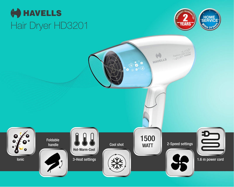 Havells HD3201 1500W Ionic Hair Dryer