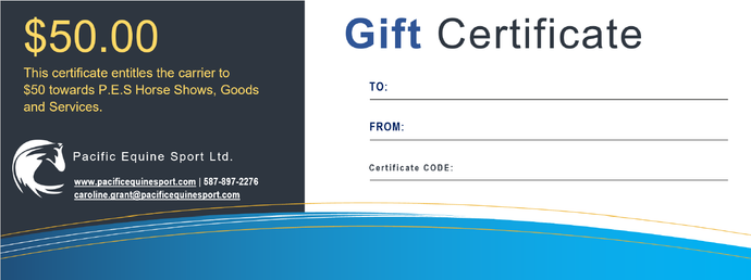 Pacific Equine Sport Gift Certificate