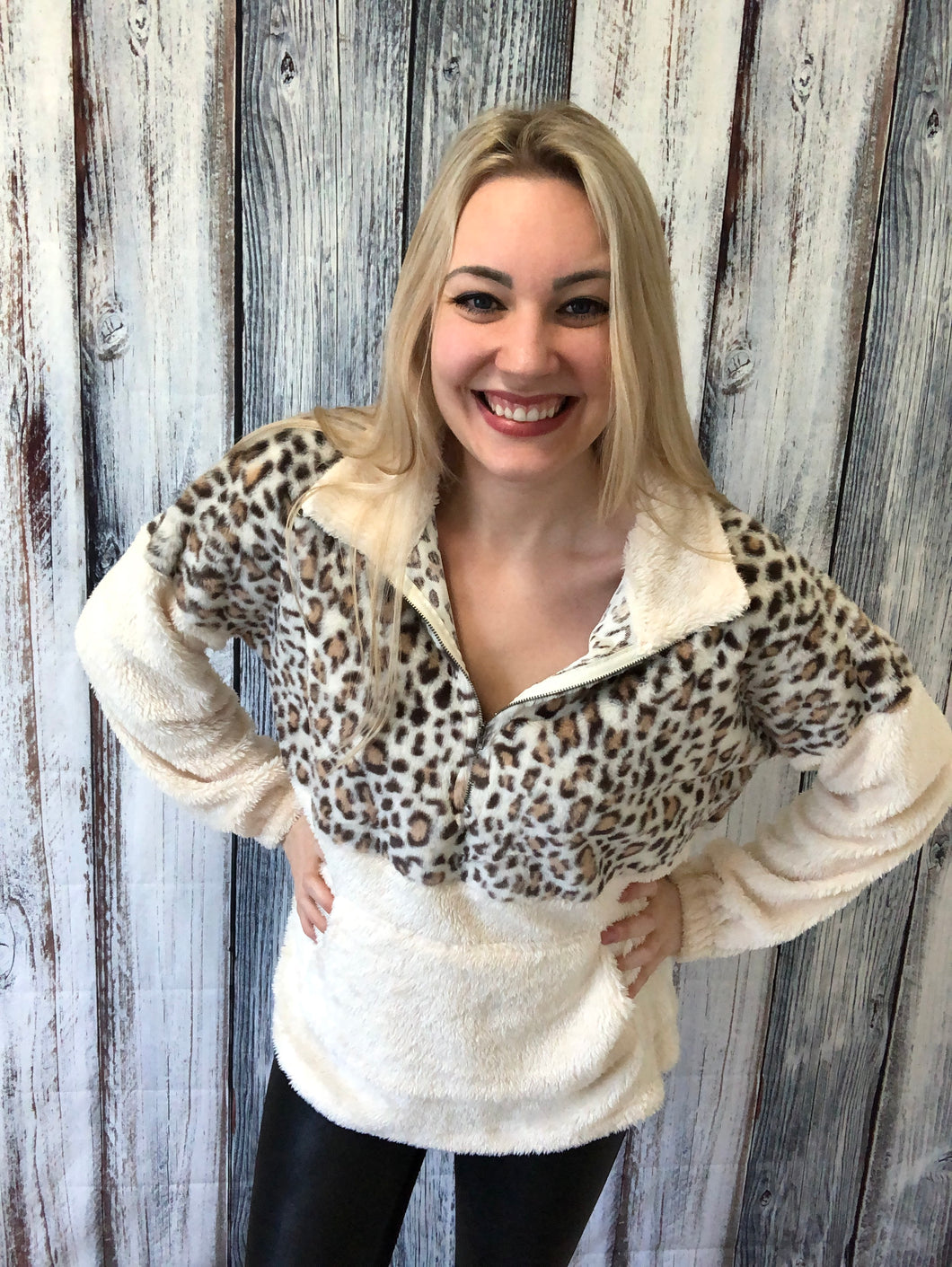 Shearling Teddy Leopard Pullover