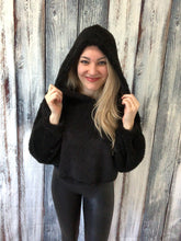 Load image into Gallery viewer, Where You Belong Fuzzy Crop Hoodie