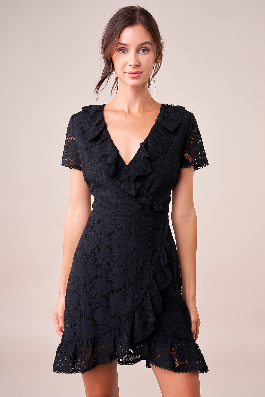 Alora Lace Wrap Dress - Black
