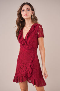 Alora Lace Wrap Dress - Burgundy