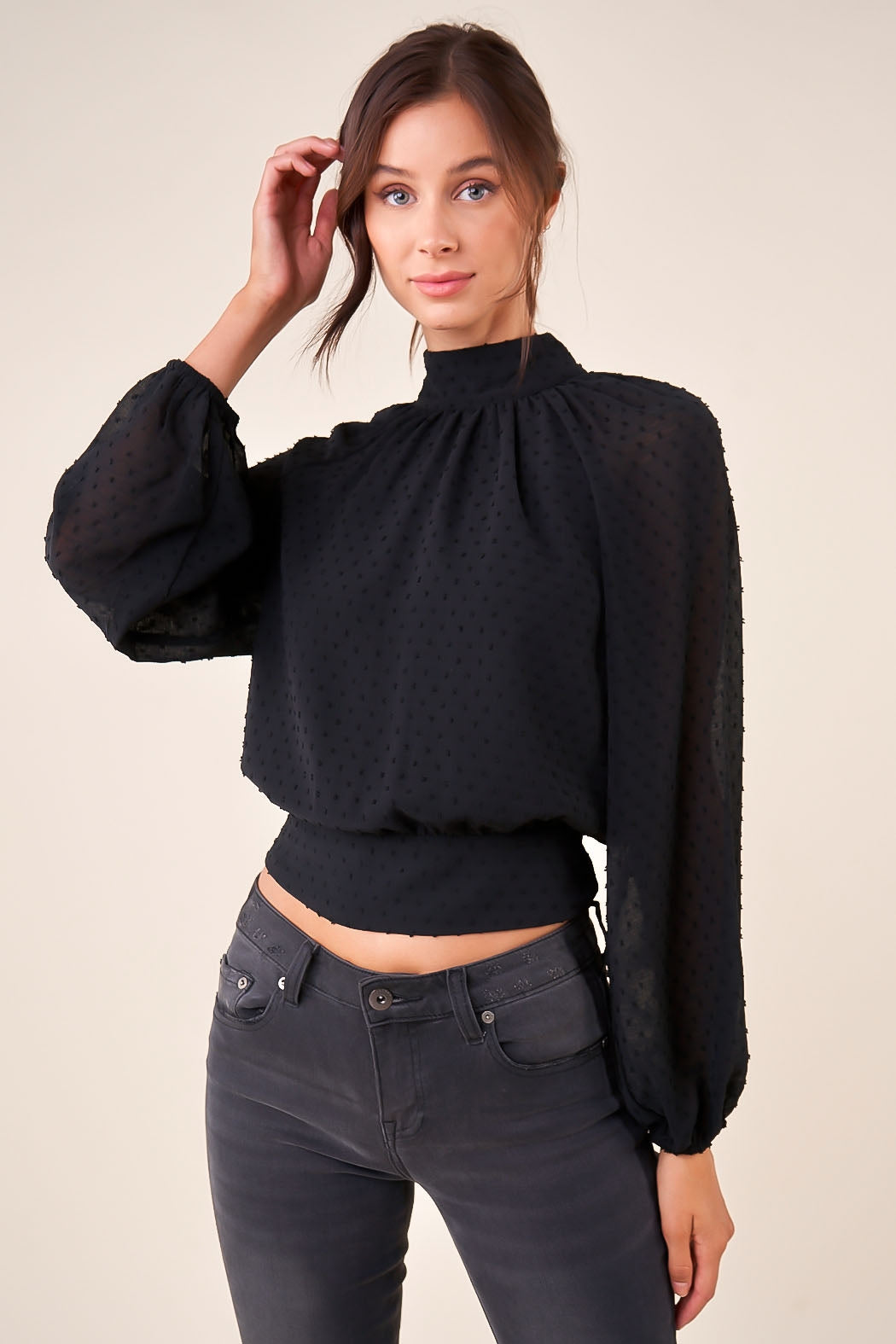 Milano Swiss Dot Mock Neck Crop Blouse