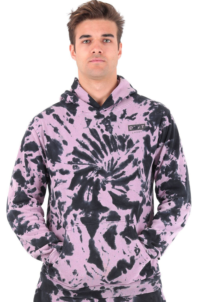 Deft Lndry Mens Hood - Pastel Purple/Charcoal Tie Dye - deftcollection.com