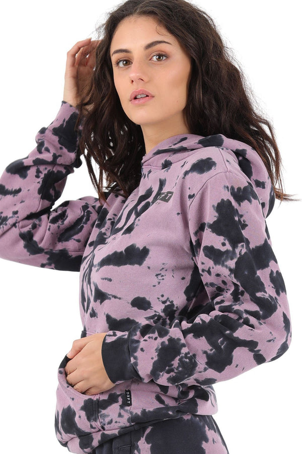 Deft Lndry Oversized Women's Hood - Pastel Purple/Charcoal Tie Dye - deftcollection.com