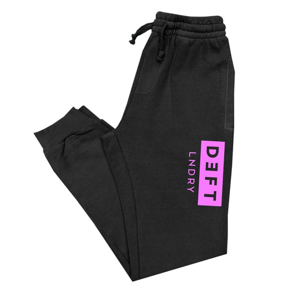 Deft Lndry Track Pants - Black / Bright Pink - deftcollection.com