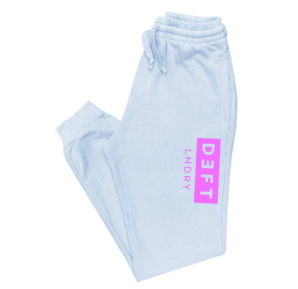 Deft Lndry Track Pants - Pastel Blue / Fluoro Pink - deftcollection.com